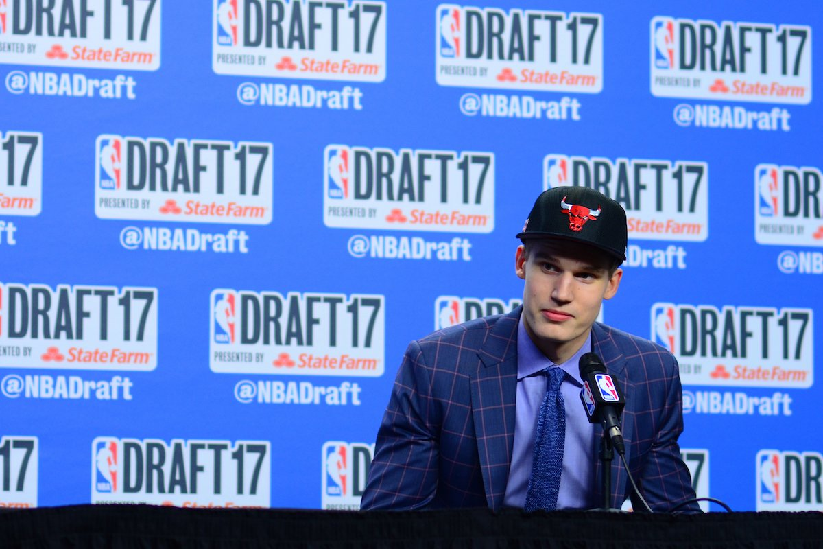 Lauri Markkanen speaks with the media after being selected seventh overall by the Chicago Bulls at the 2017 NBA Draft on June 22, 2017 at Barclays Center in Brooklyn, New York.